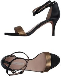 7b94193a8e7 Lyst - Pura López Exclusive Gold Studded High Heel Sandal in Natural