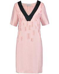 Amanda Wakeley - Satin-trimmed Distressed Crepe Dress - Lyst