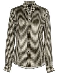 Ralph Lauren Black Label | Long-sleeve Houndstooth Chiffon Blouse | Lyst