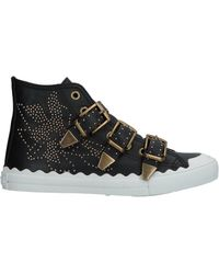 Chloé - Trainers Susanna High Leather Black Rivets Gold Floral - Lyst