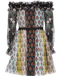 Giamba - Floral Bardot Trim Dress - Lyst