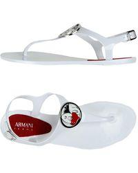 7a749f6f7d410 Lyst - Armani Jeans Flat Sandal in White