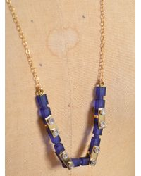 Lily Kamper - Navy Frosted Gold Mechanic Necklace - Lyst