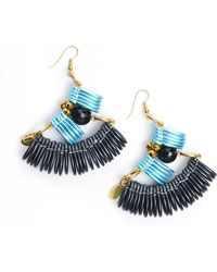 Kirsty Ward - Light Blue & Black Curve Earrings - Lyst