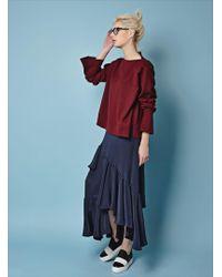 J.won - Navy Silk Ruffle Skirt - Lyst