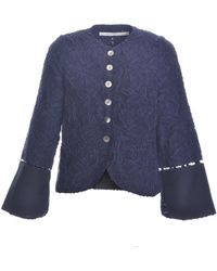 Renli Su - Burnout Jacket In Navy With Large Fold Up Cuffs - Lyst