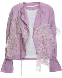 Renli Su - Handstitched Jacket In Sky Magenta With Lace - Lyst
