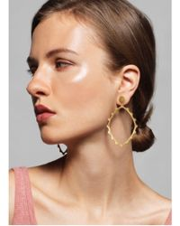 Joanna Cave - Lesedi Gold Hoop Earrings With White Sapphires - Lyst