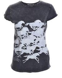 Simeon Farrar - Black Horses Roll Sleeve Tee - Lyst