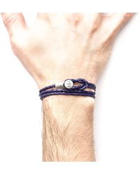 Anchor & Crew - Grape Purple Dundee Silver And Leather Bracelet - Lyst