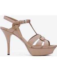 Saint Laurent - Classic Tribute 75 Sandal In Rose Patent Leather - Lyst