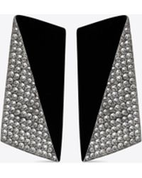 Saint Laurent - Smoking Faceted Earrings In Black Resin And White Crystals - Lyst