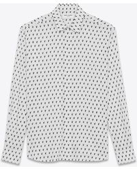 Saint Laurent - Yves-neck Shirt In Ikat-printed White Canvas - Lyst