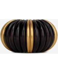 8bce92ea18 Mandarin Cuff Bracelet In Brown Wood And Gold Metal