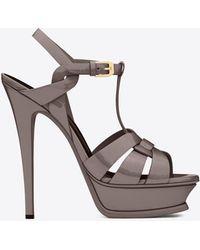 Saint Laurent | Classic Tribute 105 Sandal In Fog Patent Leather | Lyst