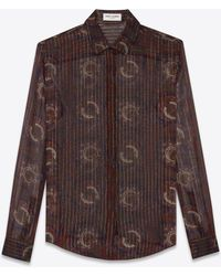 Saint Laurent - Shirt In A Blue, Brick And Gold Silk Paisley Print - Lyst