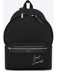 Saint Laurent - Embroidered City Backpack In Canvas - Lyst