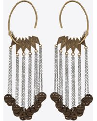 Saint Laurent - Marrakech Medal Earrings In Tin And Brass - Lyst