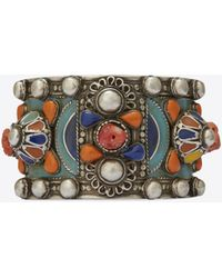 017a8b024cf Saint Laurent - Marrakech Cuff Bracelet In Tin, Brass, Coral And Blue  Enamel -