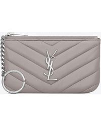 Saint Laurent - Key Pouch In Mouse-gray Matelassé Leather - Lyst