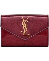 Saint Laurent - Monogram Small Envelope Wallet In Glitter Patent Leather - Lyst