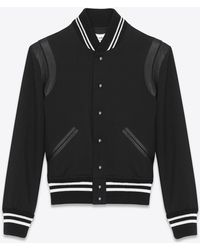 Saint Laurent | Teddy Jacket In Black Gabardine And Black Leather | Lyst
