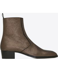 Saint Laurent - Wyatt Boot In Crinkled Metallic Leather - Lyst