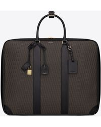 Saint Laurent - Classic Toile Monogram 48h Luggage In Black Printed Canvas And Leather - Lyst