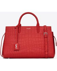 Saint Laurent - Small Cabas Rive Gauche Bag In Red Crocodile Embossed Leather - Lyst