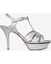 99baefdfa77c Lyst - Saint Laurent Tribute 105 Peep Toe Sandal In Red Patent ...