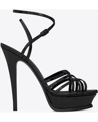 Saint Laurent - Tribute Sandal In Patent Leather - Lyst