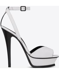 Saint Laurent - Tribute 105 Sandals With Open Toes In Black And White Leather - Lyst