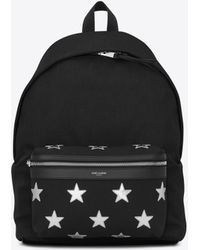 Saint Laurent - California City Backpack In Nylon And Metallic Leather - Lyst