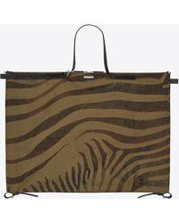 Saint Laurent - Simple Id Bag In Zebra Print Khaki Gabardine And Black Leather - Lyst