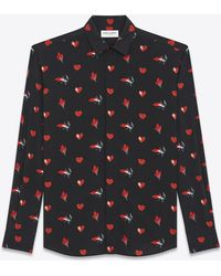 Saint Laurent - Yves Collar Shirt In Black And Red Flame, Heart And Lightening Bolt Printed Silk Crêpe - Lyst