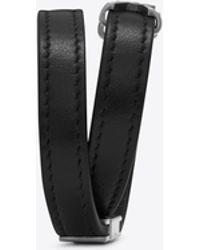 Saint Laurent - Bracelet double tour YSL en cuir noir et métal argenté brossé - Lyst