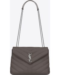 d3dbfeb42f12 Lyst - Saint Laurent Small Loulou Chain Bag In Grey