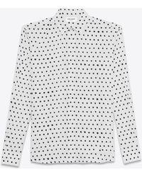 Saint Laurent - White And Black Lipstick Dot Yves Collar Shirt - Lyst