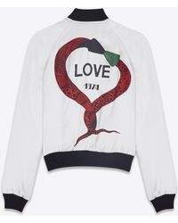 Saint Laurent - Love 1974 Varsity Jacket In Ivory Satin Viscose - Lyst
