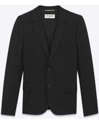 Saint Laurent | Single-breasted Jacket In Black Gabardine | Lyst