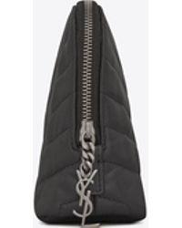 """Saint Laurent - Loulou Makeup Bag In Matelassé """"y"""" Leather - Lyst"""