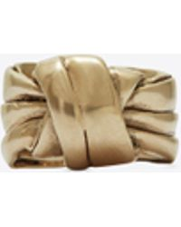 Saint Laurent - Draped Bow Ring In Light Gold Metal - Lyst