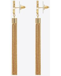 Saint Laurent - Mini Tassel Earrings In Gold Brass - Lyst