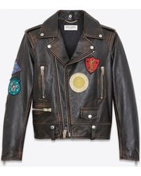 Saint Laurent - Motorcycle Jacket With Multicolored Patches In Black And Cognac Antiqued Leather - Lyst
