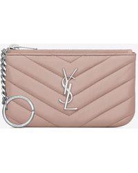 Saint Laurent - Key Pouch In Powder Pink Matelassé Leather - Lyst