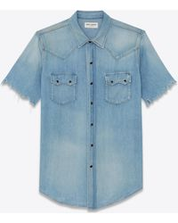 Saint Laurent - Western-style Denim Short-sleeve Shirt - Lyst