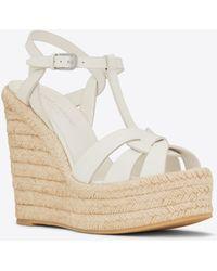 Saint Laurent - Espadrille Wedge Sandal In Leather - Lyst