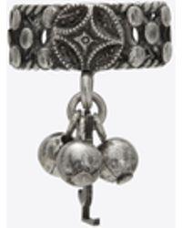 Saint Laurent - Folk Phalanx Ring With Bells In Silver Metal - Lyst