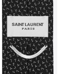 Saint Laurent - Slim Tie In Black And Grey Ysl Woven Silk Jacquard - Lyst