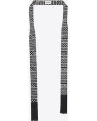 Saint Laurent - Marrakesh Ascot Scarf In Black And Ivory Etamine - Lyst